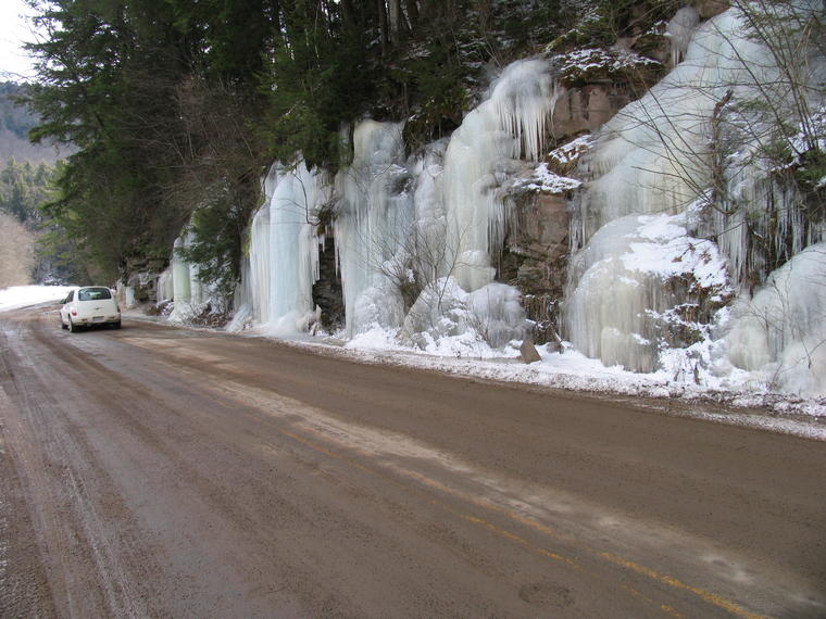 Roadside Ice with Car photo