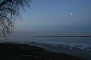 """Morning moon on Cayuga Lake"""