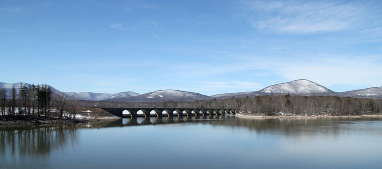 Bridge across the Ashokan Reservoir in the Catskills photo