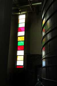 """Wine vat and Stained-glass window"" image"